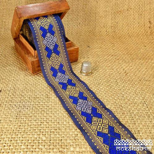 Asian/Indian ethnic decorativejacquard ribbon full sari trim royal blue golden yellow geometric Mokshatrim Haberdashery