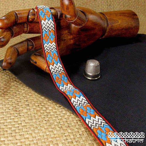Traditional tibetan ethnic style soft cotton jacquard ribbon turquoise blue orange motif black and white zig zag Mokshatrim