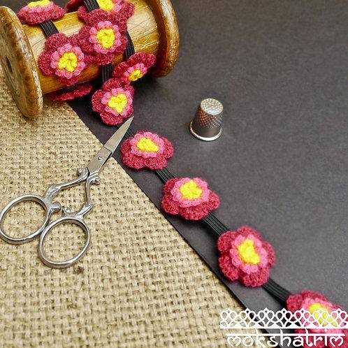 Decorative Stretch Stretch Elastic Trim yarn crochet flowers floral 3 layers pink yellow black Mokshatrim Haberdashery