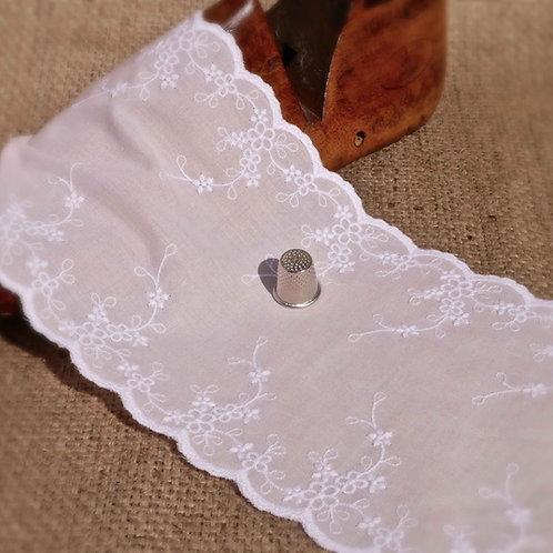 Pale Pink/Apricot broderie anglaise lace flower floral scalloped edge white bridal christening Mokshatrim Haberdashery
