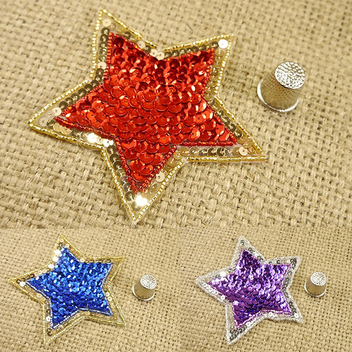 Star Shiny Sequin Beaded Applique MA702