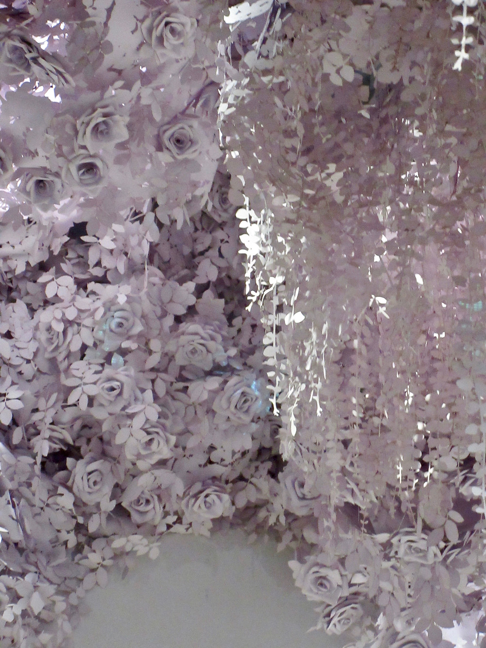 Paper flowers by Wanda Barcelona in Dior; Designer of Dreams Exhibition V&A 2019