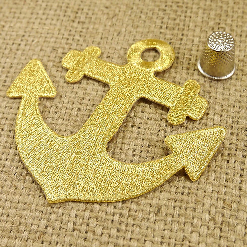 Gold Anchor Embroidered Applique MA704