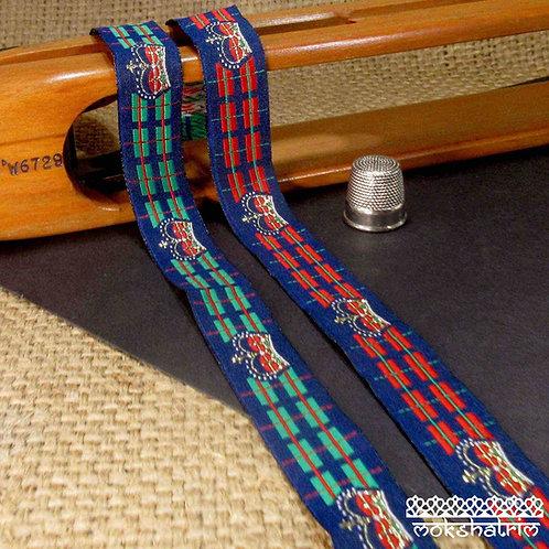 Art jacquard ribbon tartan green red navy blue regal crown gold metallic Mokshatrim Exotic Ethnic Haberdashery