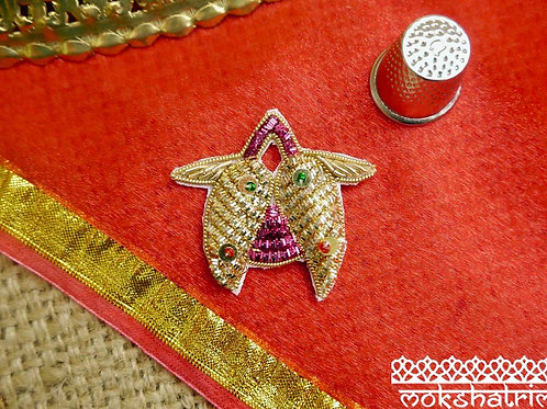 Indian Asian motif applique gold magenta pink metallic coilwork red green bead gold sequins subtle sheen Mokshatrim Haberdash