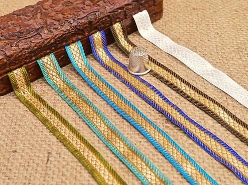Asian Indian Narrow jacquard ribbon net design Blue green bronze metallic gold Mokshatrim Haberdashery