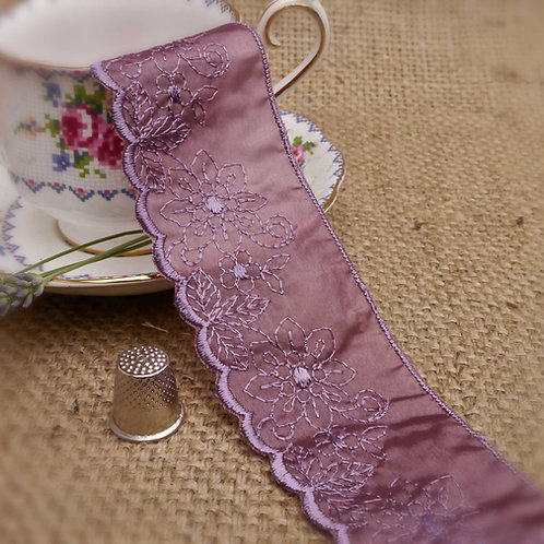 Purple Embroidered Ribbon Lace M329