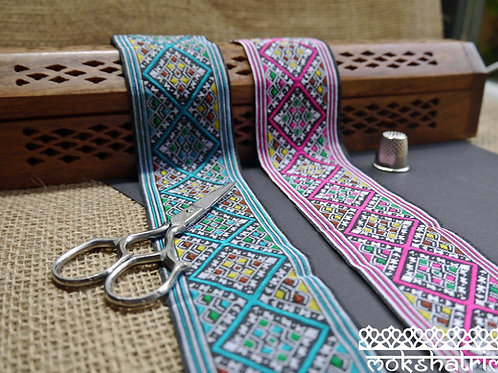 Cerise teal diagonal check geometric tribal jacquard ribbon trim haberdashery Mokshatrim