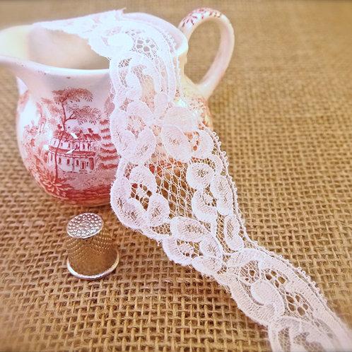 White chantilly lace traditional rose design scalloped edges edging Mokshatrim Ethnic Haberdashery