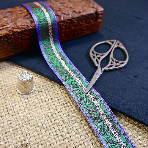 Decorative Indian Jacquard ribbon trim purple teal white stripe design wine red embroidered paisley design Mokshatrim Ethnic