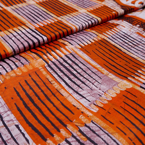 orange black brown shield stripe panel batik tribal african wax ankara mokshatrim fabric cotton