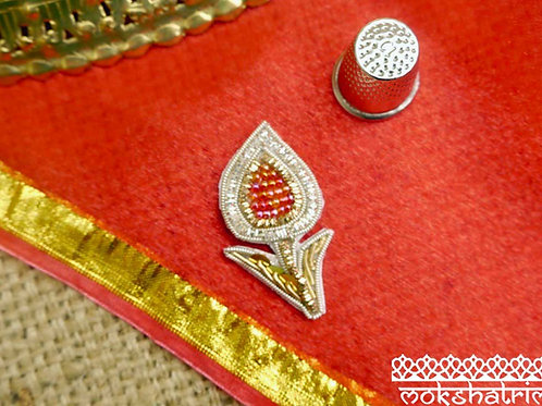 Indian Asian floral flower bud applique gold silver coilwork zardosi red irridescent seed beads leaves  sequin Mokshatrim