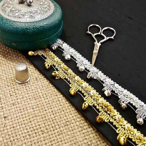 Traditional Metallic Braid Trim with Bells M603