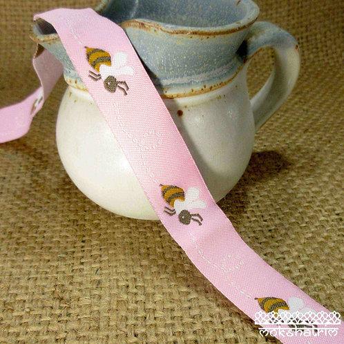Pink Bees Jacquard Ribbon M936