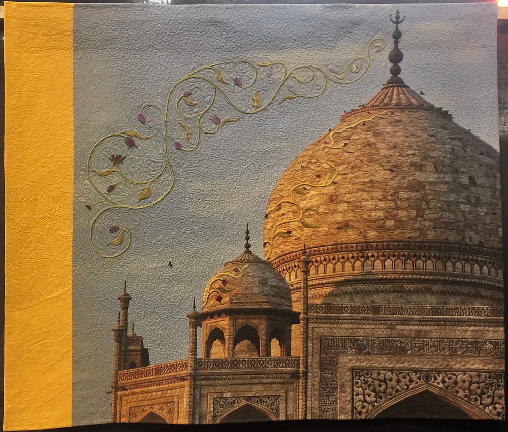 Festival of Quilts - Taj Mahal At Sunset by Pippa Wardman (The Quilters' Guild Challenge) 2nd Prize Winner, Winner Peoples Choice