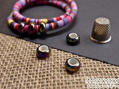 oilslick ceramic metallic finish bead cord jewellery mokshatrim haberdashery