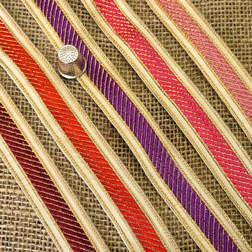Decorative Indian Asian jacquard ribbon diagonal colour pattern metallic gold silver Mokshatrim Haberdashery