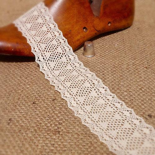 Fine Cream Cotton Crochet Geometric Lace Vintage Mokshatrim Haberdashery
