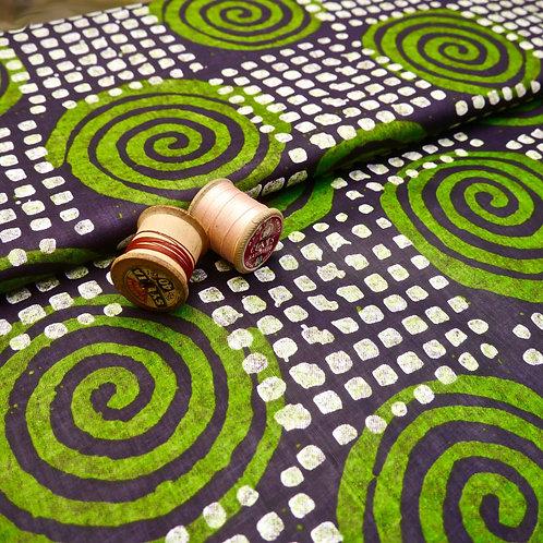 Green Swirl batik tribal african wax ankara mokshatrim fabric cotton