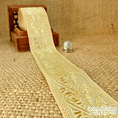 Asian/Indian decorativejacquard ribbon scroll pattern pale yellow gold sheen metallic Mokshatrim Haberdashery