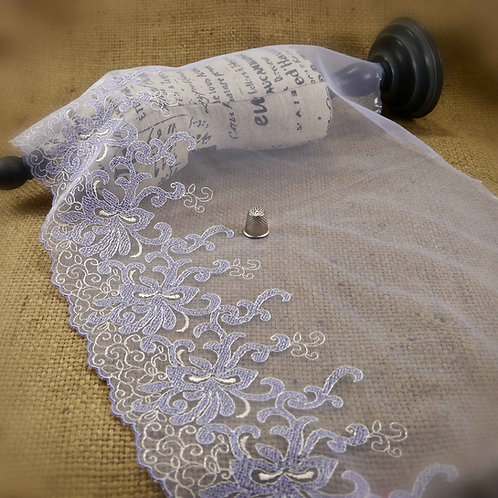 Extra Wide Pale Apricot Embroidered Tulle abstract design white pale blue scalloped edge lingerie Mokshatrim Haberdashery
