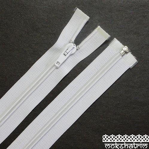 36cm (c. 14 inch) White open end plastic zipper jackets Mokshatrim Haberdashery