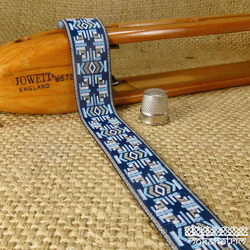 Art jacquard ribbon geometric design pale blue grey white navy blue Mokshatrim ethnic Exotic Haberdashery