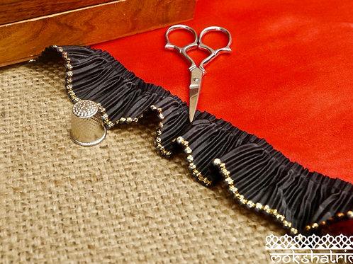 Black pleated satin frill lace metallic gold edging embellishment Mokshatrim Haberdashery