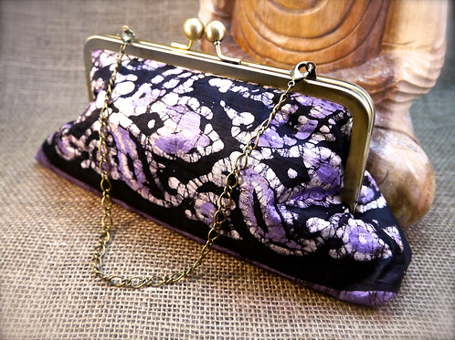 Purple Batik Design Sari Clutch P9