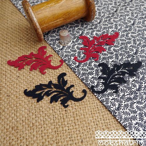 Iron On red black flock baroque gothic leaf right left mirror patch applique trim mokshatrim haberdashery