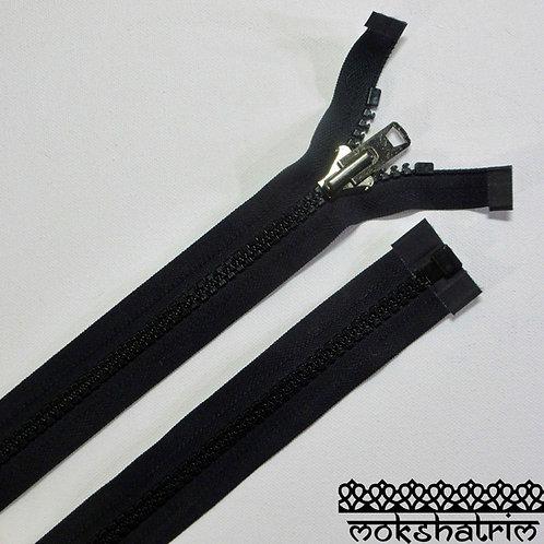 21.5 inches (c. 54.5cm ) Black open end super chunky plastic extra heavy duty nylon zipper jackets Mokshatrim Haberdashery