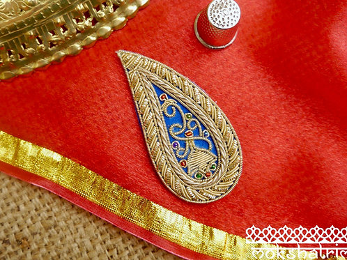 Indian Asian Silver Goldwork Beaded Applique ethnic traditional paisley gold coilwork red green beads Mokshatrim Haberdashery