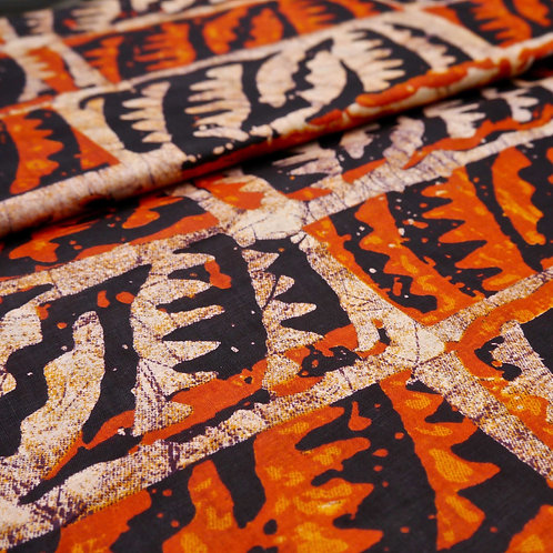 orange black leaf batik tribal african wax ankara mokshatrim fabric cotton