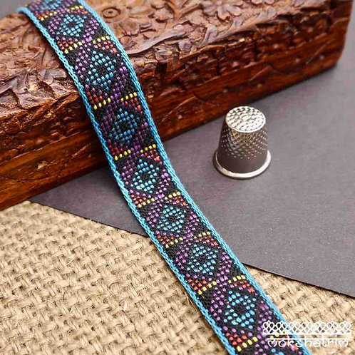Traditional style soft cotton jacquard ribbon geometric woven turquoise blue red purple yellow dog collar Mokshatrim