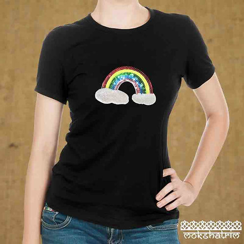 Colourful Iron-On Sequin Applique patch Rainbow clouds symbol of hope coronavirus Mokshatrim haberdashery
