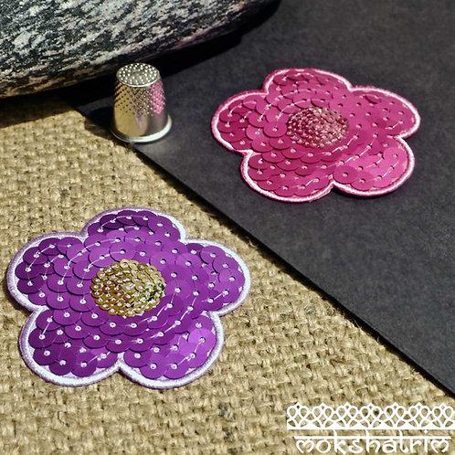 Flower FloralSequin Applique petals matt sequins holographic sequins iron-on Cerise Purple Mokshatrim Haberdashery