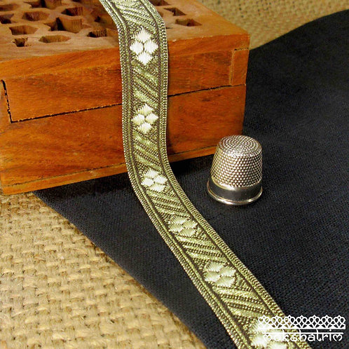 Traditional Chinesejacquard ribbon geometric design antique gold metallic diagonal stripes pale cream Mokshatrim Haberdasher