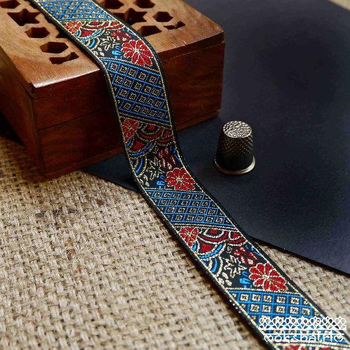 Traditional Chinesejacquard ribbon mix of geometric floral elements red blue metallic Mokshatrim Haberdashery