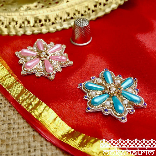Indian Asian Silver Goldwork floral flowerappliques gold silver coilwork patches pearl-like bead Mokshatrim Haberdashery