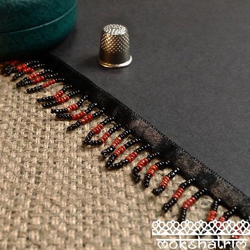 30 mm Ethnic Beaded trim/fringe black red opaqueseed beads stripes black satin ribbon Mokshatrim Haberdashery