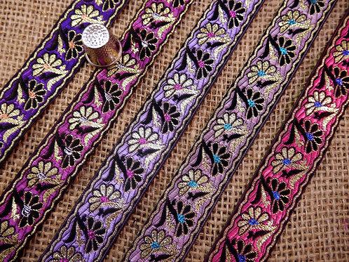 Decorative Asian Indian jacquard ribbon shiny twining daisy flowers floral Ethnic Mokshatrim Haberdashery