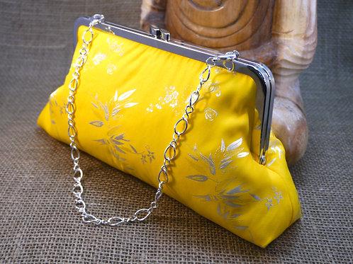 Yellow Bamboo Design Silk Clutch P2