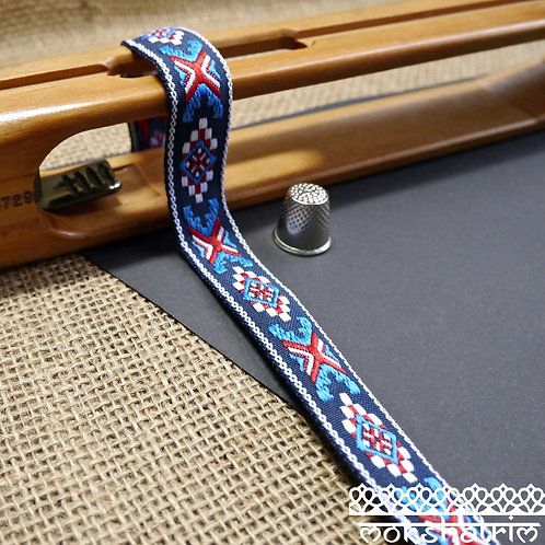 20mm maritime sailor MA140e tribal geometric blue red white jacquard ribbon trim haberdashery mokshatrim dog collar