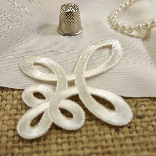 Cream Classic Embroidered Fleur De lys Applique Bridal Wedding Mokshatrim Haberdashery