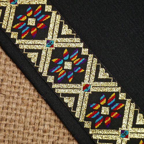 Indian jacquard ribbon tribal flower design black rainbow gold metallic Mokshatrim Haberdashery Ethnic