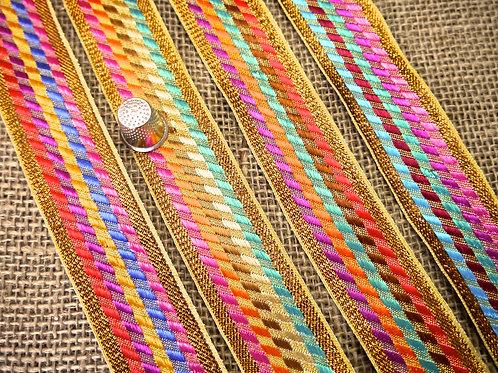 Rainbow Diagonal Check Ribbon M18