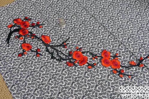 Iron on cherry blossom stem embroidered large patch applique trim mokshatrim haberdashery