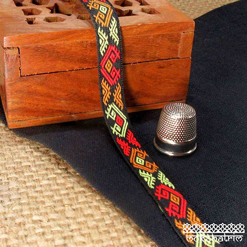Narrow Traditional tibetan style jacquard ribbon knot ikat motif orange red yellow black background Mokshatrim Haberdashery