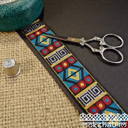 Asian Indian jacquard ribbon geometric tribaldesign silver red blue yellow black Ethnic Mokshatrim Haberdashery