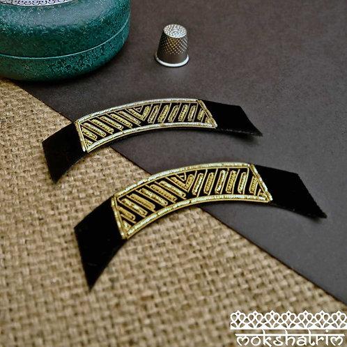 Indian Gold Goldwork Applique Epaulet Black velvet shoulder collar pocket Mokshatrim Haberdashery